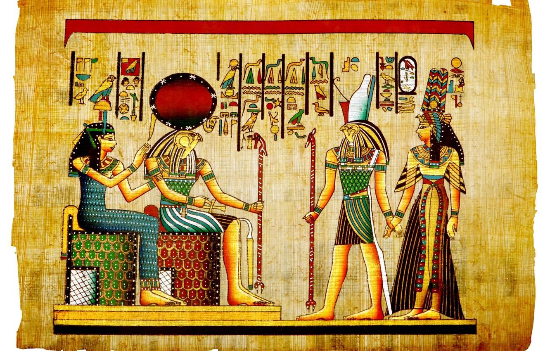 Фото обои фараон, иероглиф, египет, папирус