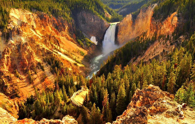 Фото обои лес, горы, Водопад, forest, mountains, waterfall