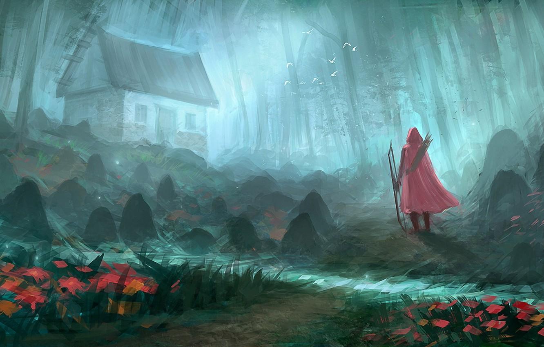 Фото обои лес, птицы, человек, арт, домик, плащ