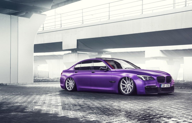 Фото обои BMW, German, Car, Purple, Color, 7 Series, Vossen, Low, Wheels
