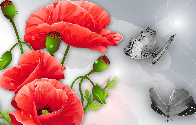 Обои цветы, Коллаж, рисунок, вектор. Разное foto 6
