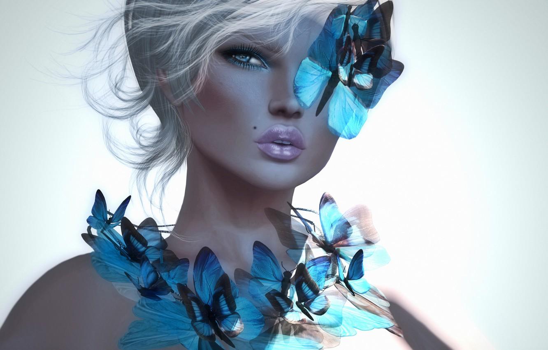 Фото обои девушка, бабочки, фон