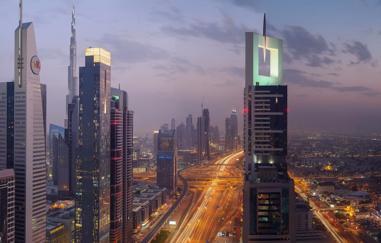 Фото обои ночь, город, огни, вечер, Дубай, ОАЭ