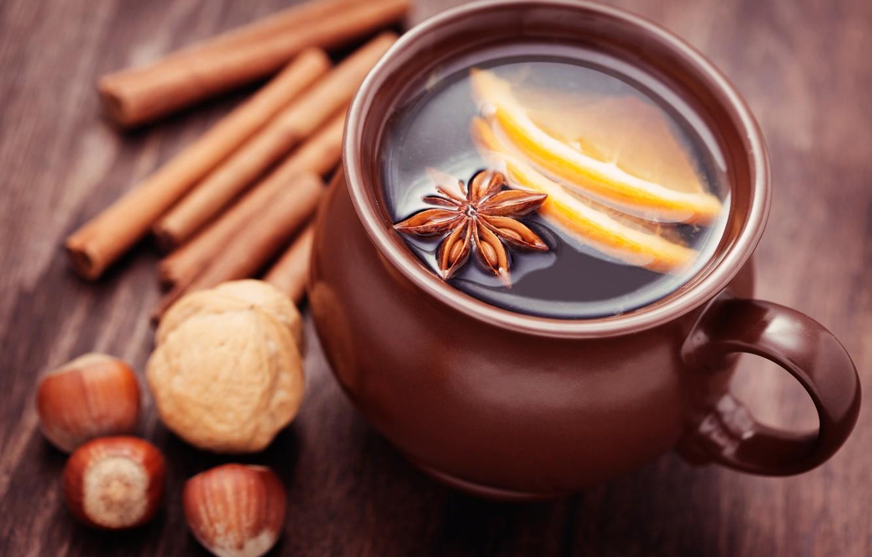 Фото обои зима, палочки, чашка, цитрус, напиток, орехи, корица, пряности, бадьян, анис
