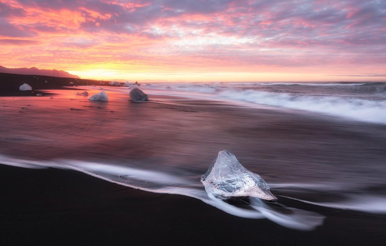Фото обои море, пляж, небо, свет, берег, лёд