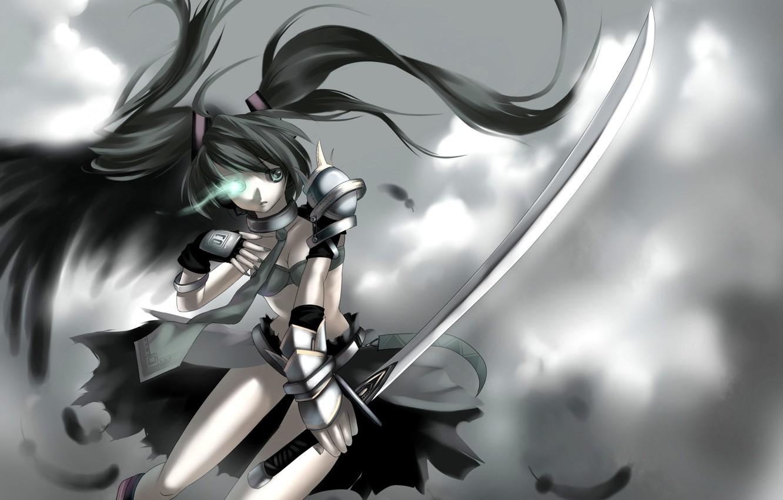 Фото обои девушка, оружие, катана, арт, vocaloid, hatsune miku, вокалоид, yykuaixian, Black Rock Miku
