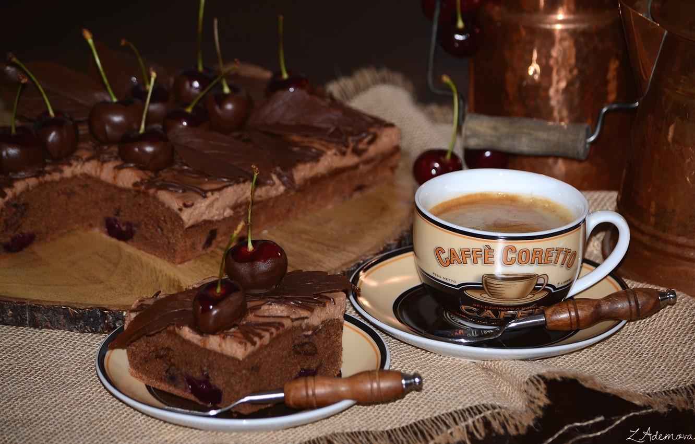 Фото кофе с пирожным на рабочий стол