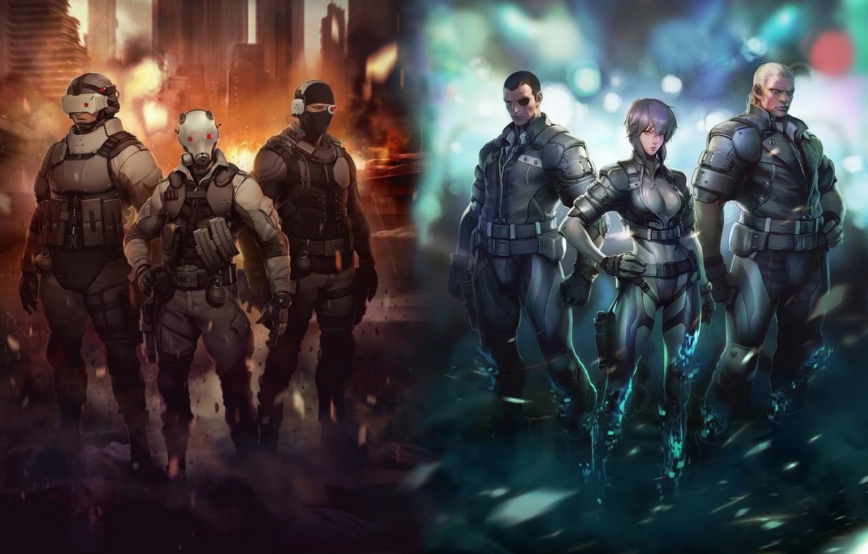 Фото обои Ghost in the Shell, сайто, призрак в доспехах, Motoko, Batou, бато, Saito, мотоко