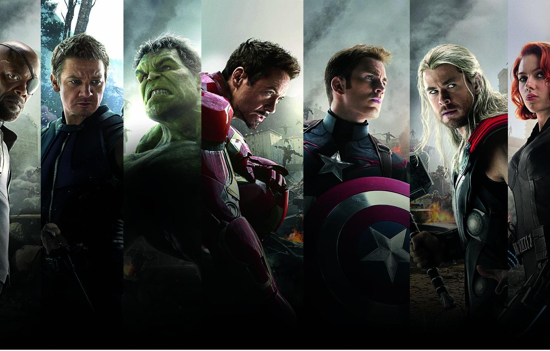 Фото обои Scarlett Johansson, Heroes, Hulk, Iron Man, The, Captain America, Team, Thor, Black Widow, Robert Downey …