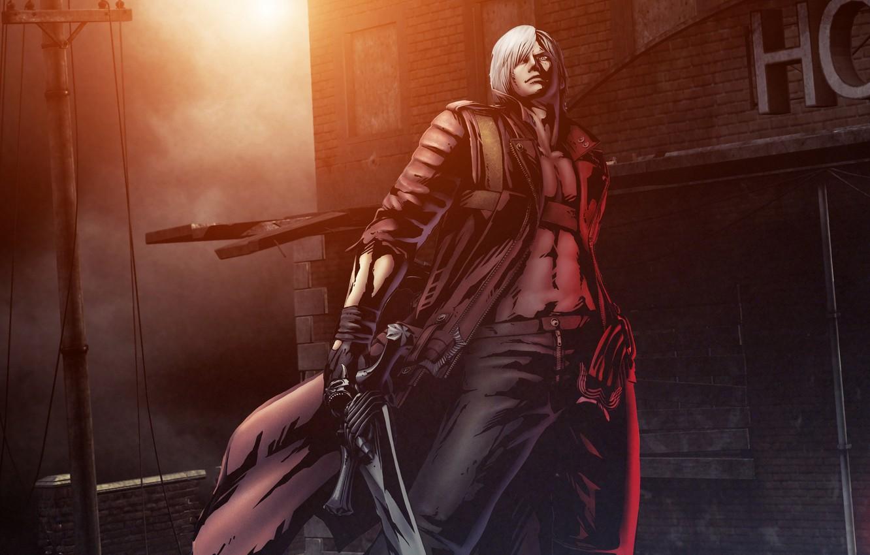 Фото обои оружие, пистолеты, меч, guns, sword, Dante, DMC, Данте, game wallpapers, Devil May Cry, Ребеллион, полудемон, …