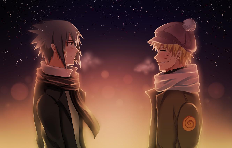Фото обои вечер, друзья, naruto, anime, art, Uchiha Sasuke, shinobi, Uzumaki Naruto, холодная погода, случайная встреча