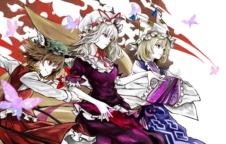 Фото обои девушки, аниме, арт, touhou, yakumo yukari, yakumo ran, chen, yutapon