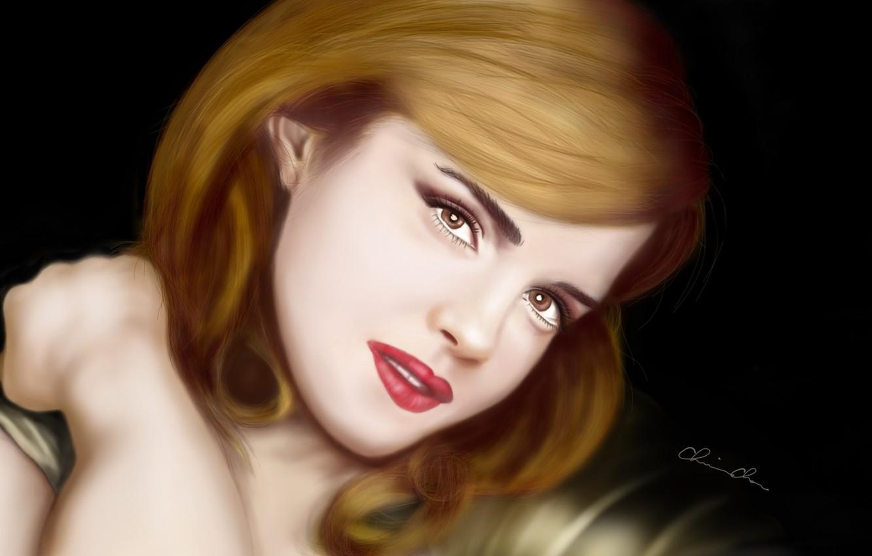 Фото обои взгляд, лицо, Эмма Уотсон, Emma Watson