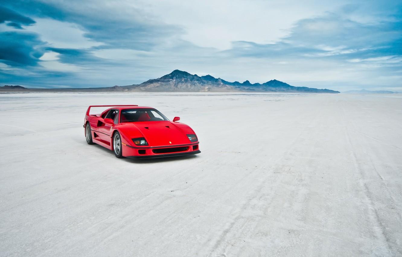 Фото обои машина, озеро, Ferrari F40