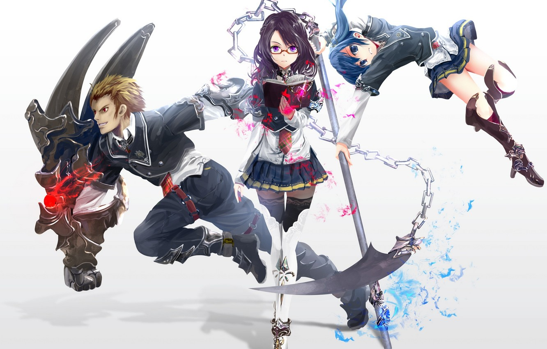 Фото обои оружие, девушки, магия, аниме, арт, очки, цепь, книга, коса, парень, kouji, astral reverie