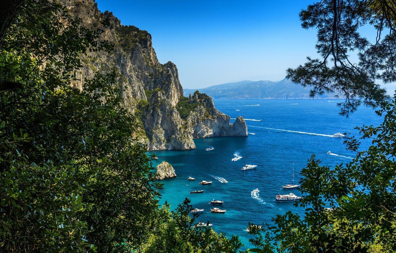 Фото обои Природа, Яхта, Скала, Италия, Побережье, Capri, Парусные
