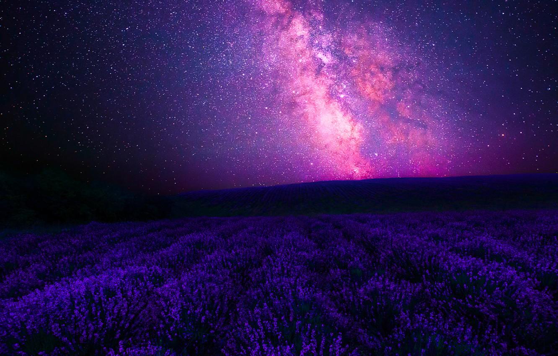 Фото обои Sky, Stars, Landscape, Galaxy, Center, Night, Lavender, Galactic, Way, Forgotten, Milky