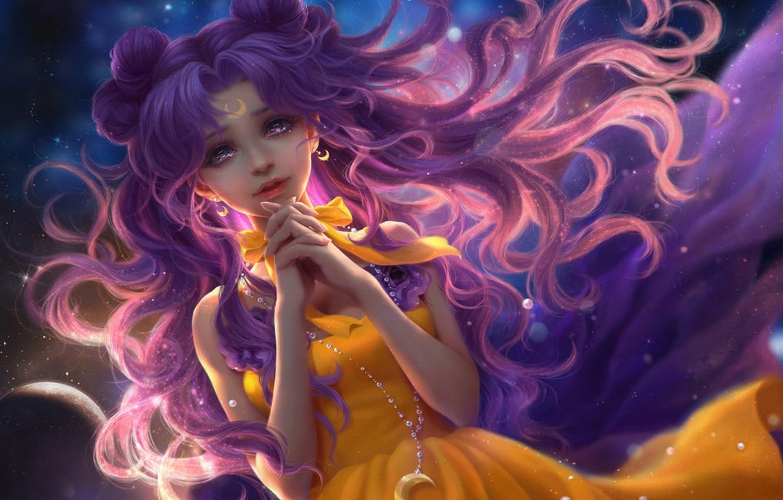 Фото обои небо, девушка, месяц, аниме, арт, цепочка, luna, Bishoujo Senshi Sailor Moon, sunmomo