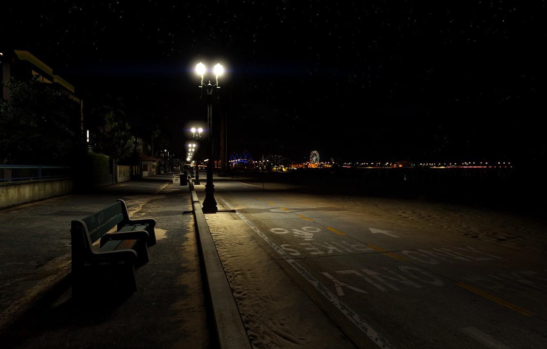 Фото обои пляж, пустота, ночь, атмосфера, Лос-Анджелес