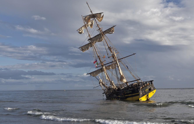 Фото обои море, парусник, мель, бриг, La Grace