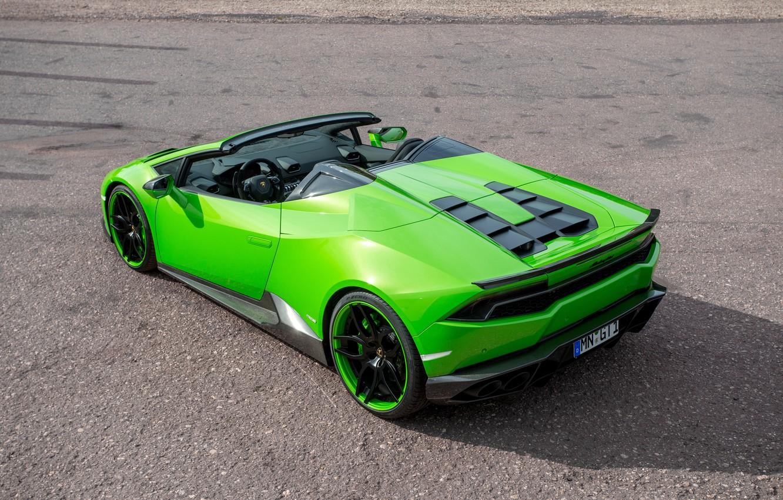 Фото обои авто, зеленый, Lamborghini, суперкар, Spyder, задок, выхлопы, Novitec, Torado, Huracan