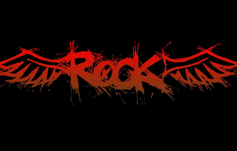 Фото обои надпись, крылья, rock, рок