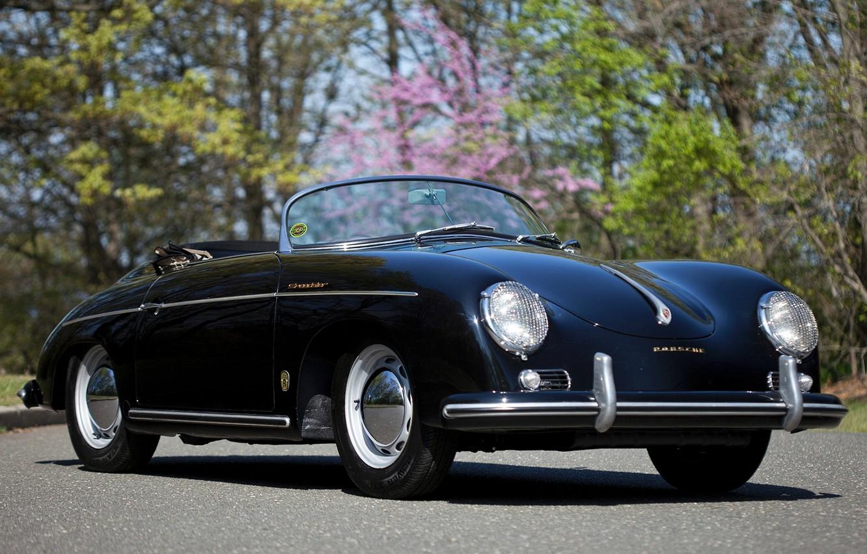 Фото обои фон, чёрный, Porsche, родстер, Порше, классика, передок, 1955, Pre-A, Speedster, by Reutter, 356