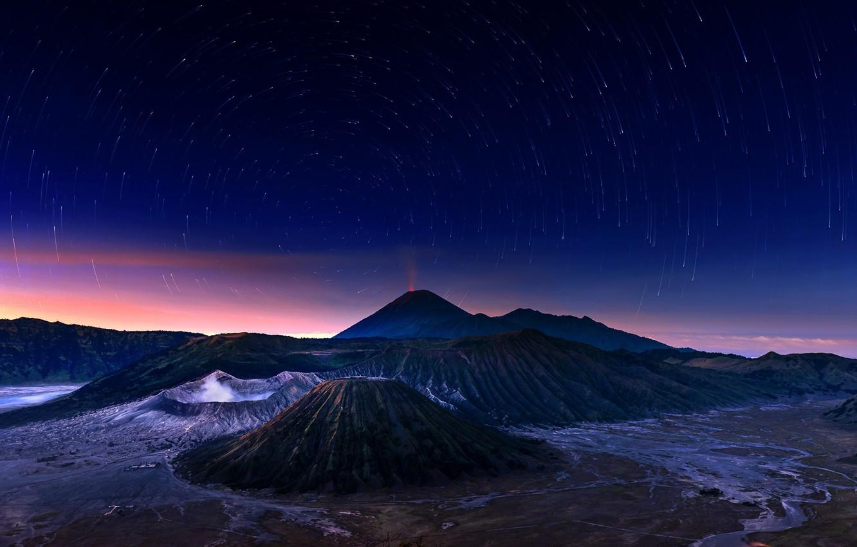 Фото обои небо, звезды, ночь, вулкан, Индонезия, Бромо, Ява, Indonesia, Bromo-Tengger-Semeru National Park