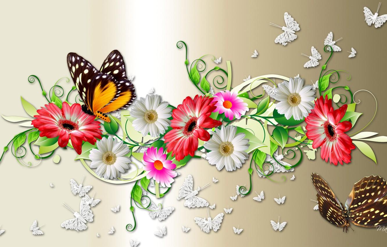 Обои мотылек, цветы, Коллаж. Разное foto 6
