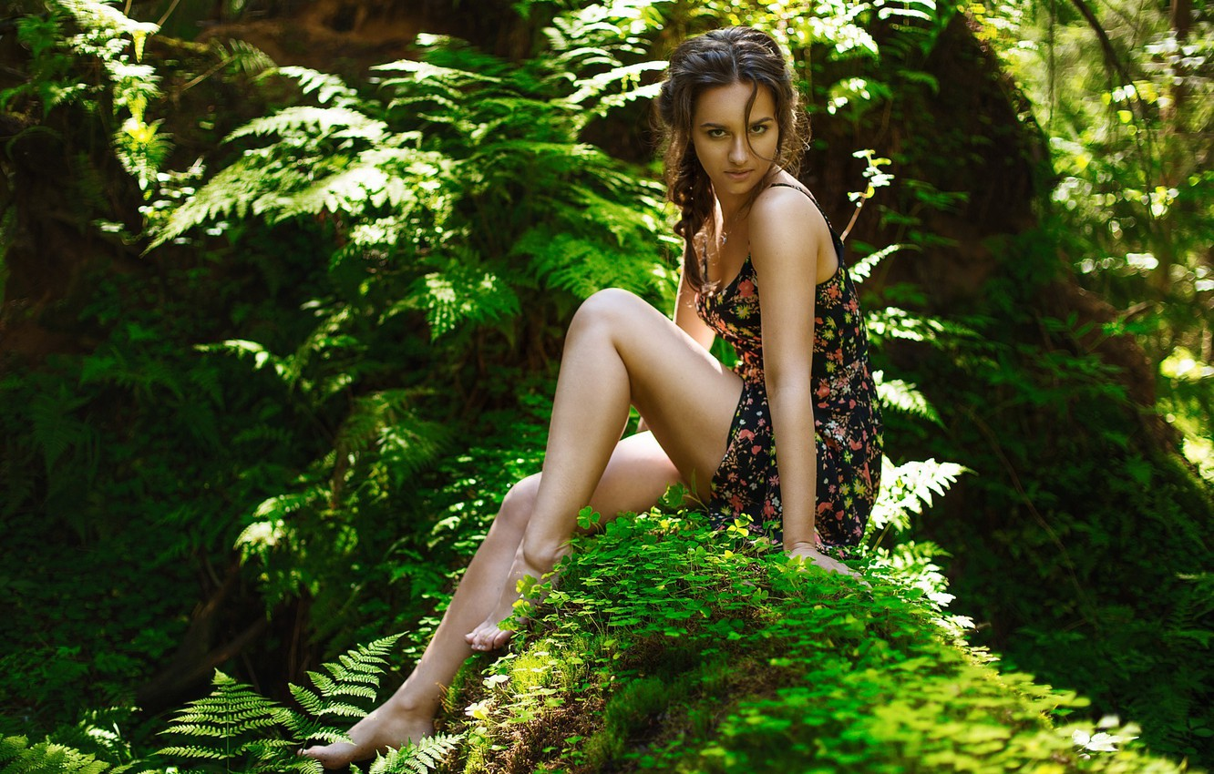 Фото обои Girl, Light, Nature, Beautiful, Sexy, Model, Green, Female, Beauty, Eyes, Summer, Face, Cute, Forest, Trees, …