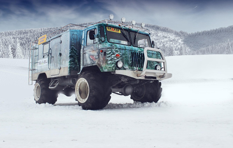 Обои снег, горы, аэрография, off road, tuning, кенгурятник, Газ 66, Gaz 66 картинки на рабочий стол, раздел другие марки - скачать