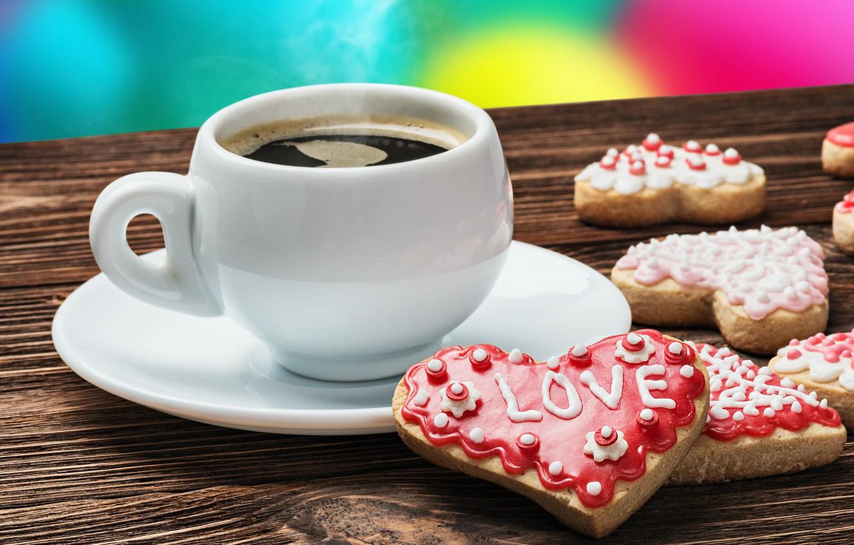 Фото обои любовь, кофе, печенье, чашка, valentine's day