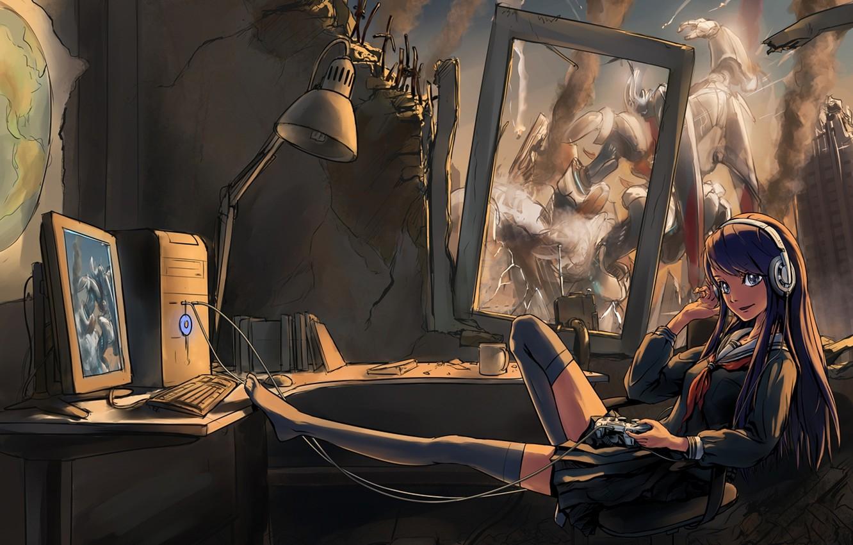Фото обои компьютер, девушка, наушники, арт, джойстик, форма, руины, меха