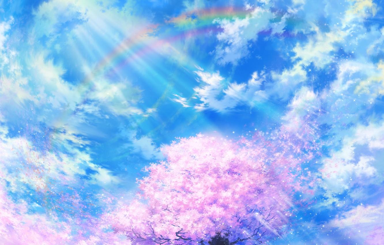 Фото обои небо, облака, природа, дерево, радуга, лепестки, сакура, арт, tsujiki