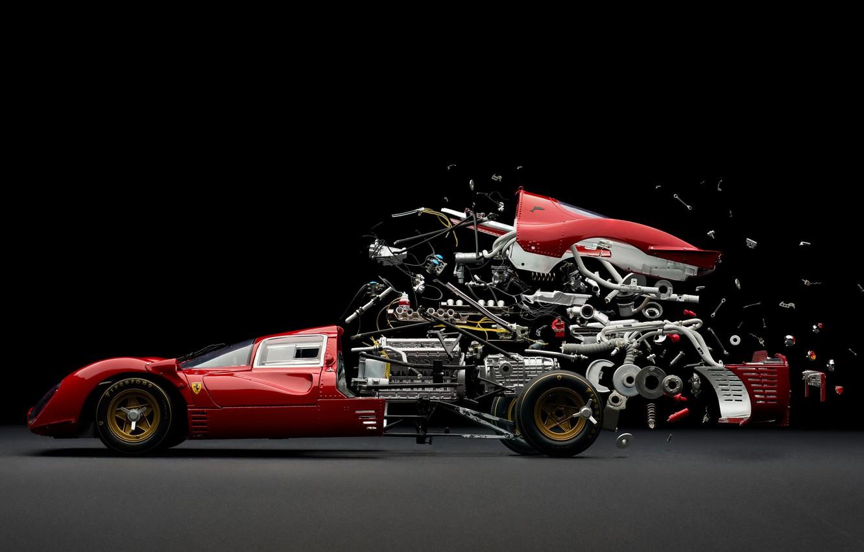 Фото обои машина, гонка, механизм, скорость, ferrari, разборка, fabian oefner