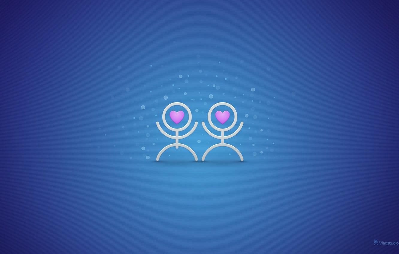 Фото обои синий, чувства, человечки, сердца, пара, текстуры