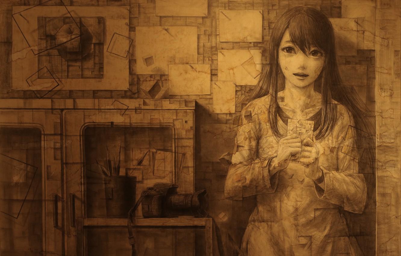 Фото обои девушка, аниме, арт, рисовка