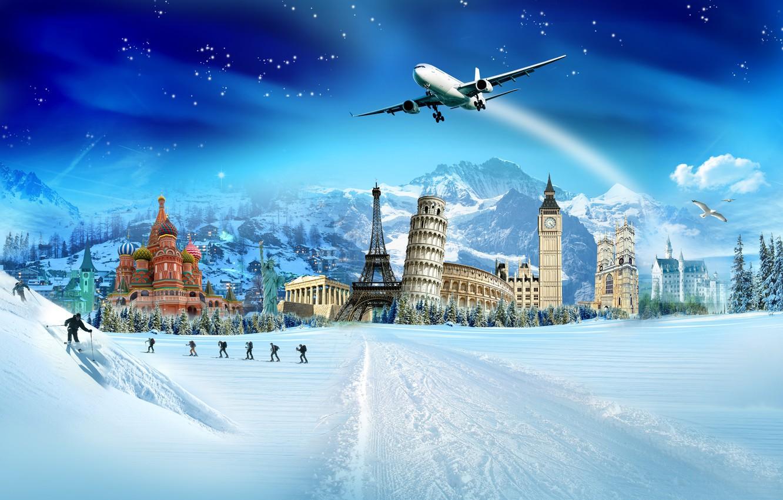 Фото обои зима, снег, птицы, эйфелева башня, кремль, лыжники, колизей, ёлки, пизанская башня, букингемский дворец