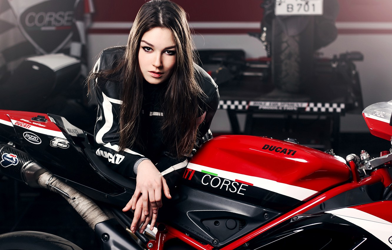 Фото обои Girl, Red, Ducati, Beauty, Face, Lips, Hair, Motocycle, Nice, Ligth, Katharina