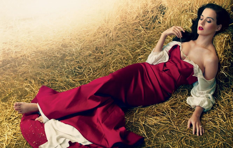 Фото обои девушка, платье, брюнетка, сено, Кэти Перри, Katy Perry, певица, колосок