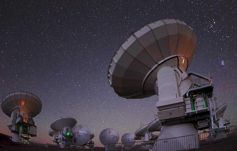 Фото обои небо, космос, ночь, телескоп