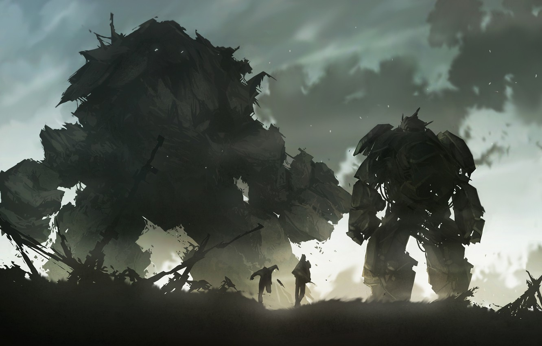 Фото обои фантастика, рисунок, робот, разрушение, голем, mech, golem, гиганты