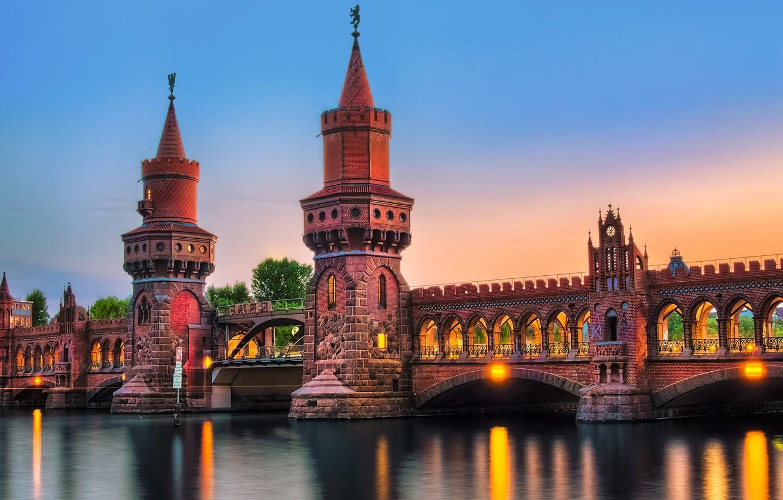 Обои deutschland, berlin, германия, oberbaumbrücke, spree. Города foto 7