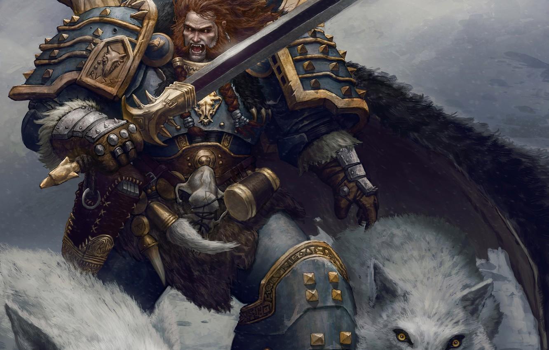 Фото обои меч, воин, арт, волки, броня, warhammer, Leman Russ