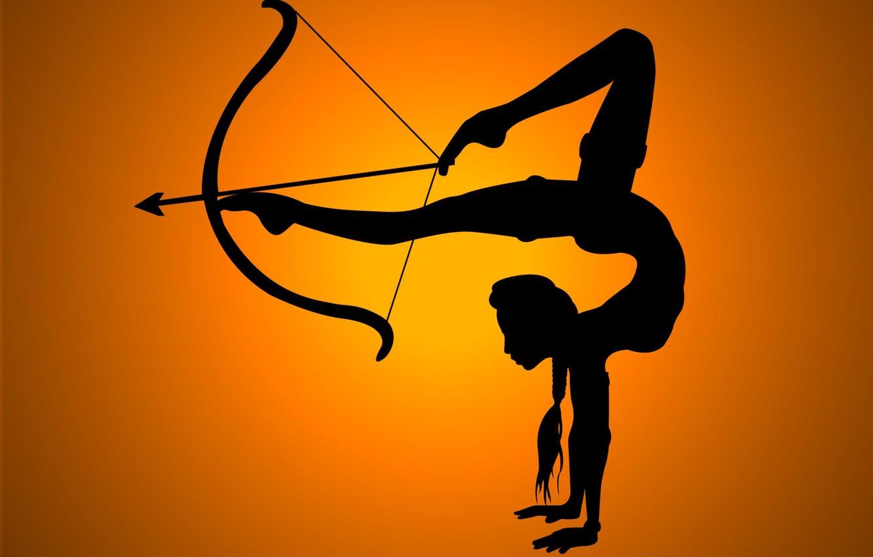 Фото обои девушка, гибкость, тень, лук, стрела, ножки