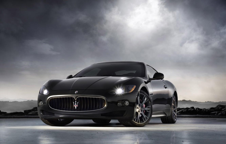 Фото обои черный, Maserati, GranTurismo-S