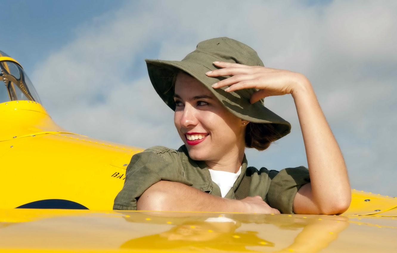 Фото обои девушка, авиация, самолёт