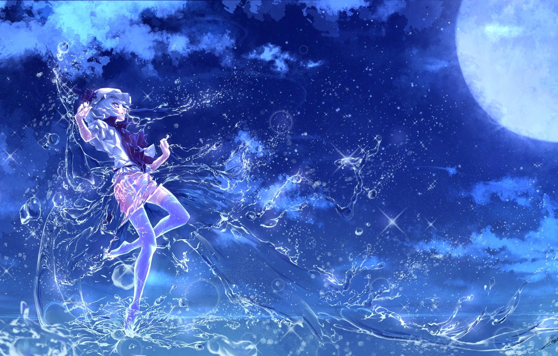Фото обои вода, девушка, ночь, магия, полнолуние, touhou, remilia scarlet, art, etna