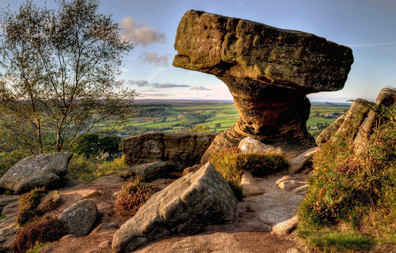 Фото обои небо, трава, пейзаж, дерево, камень, англия, горизонт, england, north yorkshire
