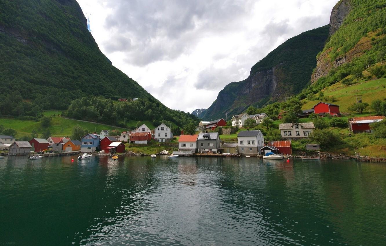 Фото обои горы, деревня, Норвегия, домики, Norway, фьорд, Undredal